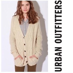 BDG Oatmeal Cable Knit Button Up Cardigan